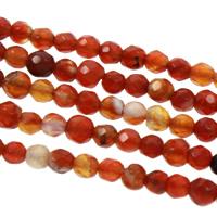 Natürlich rote Achat Perlen, Roter Achat, verschiedene Größen vorhanden & facettierte, Bohrung:ca. 1mm, verkauft per ca. 15 ZollInch Strang