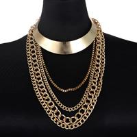Layered Choker, Zinklegierung, goldfarben plattiert, Kandare Kette & Kastenkette & für Frau, frei von Nickel, Blei & Kadmium, verkauft per ca. 15.5 ZollInch Strang
