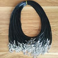 Mode Halskette Schnur, Gewachsten Baumwollkordel, Zinklegierung Karabinerverschluss, mit Verlängerungskettchen von 2lnch, Platinfarbe platiniert, schwarz, 1.5mm, verkauft per ca. 18 ZollInch Strang