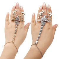 Art- und Weisearmband-Ring, Zinklegierung, mit Verlängerungskettchen von 1.5Inch, Skorpion, plattiert, Oval-Kette & für Frau & mit Strass, keine, frei von Nickel, Blei & Kadmium, 50x140mm, verkauft per ca. 8.5 ZollInch Strang