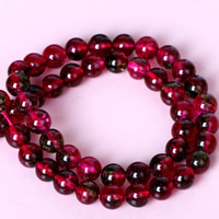 Rubinquarz Perle, rund, natürlich, verschiedene Größen vorhanden, Bohrung:ca. 1mm, verkauft per ca. 15 ZollInch Strang