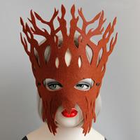 Filz Maske, mit Satinband, Geweihe, unisex & Halloween Schmuck, dunkle Kaffee-Farbe, frei von Nickel, Blei & Kadmium, 295mm, verkauft von PC