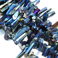 Natürlicher Quarz Perle, bunte Farbe plattiert, facettierte, 22-44x8-12x10-12mm, Bohrung:ca. 1mm, ca. 46PCs/Strang, verkauft per ca. 16 ZollInch Strang