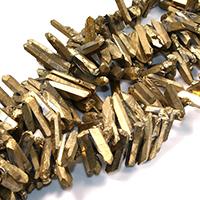 Natürlicher Quarz Perle, goldfarben plattiert, facettierte, 25-45x7-9x8-9mm, Bohrung:ca. 1mm, ca. 48PCs/Strang, verkauft per ca. 16 ZollInch Strang