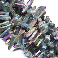 Natürlicher Quarz Perle, bunte Farbe plattiert, facettierte, 20-41x7-10x8-13mm, Bohrung:ca. 1mm, ca. 45PCs/Strang, verkauft per ca. 16 ZollInch Strang