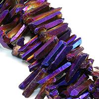 Natürlicher Quarz Perle, bunte Farbe plattiert, facettierte, 21-56x7-9x7-10mm, Bohrung:ca. 1mm, ca. 47PCs/Strang, verkauft per ca. 16 ZollInch Strang