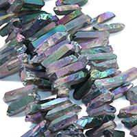 Natürlicher Quarz Perle, bunte Farbe plattiert, facettierte, 28-45x10-11x10-12mm, Bohrung:ca. 1mm, ca. 42PCs/Strang, verkauft per ca. 16 ZollInch Strang