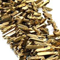 Natürlicher Quarz Perle, goldfarben plattiert, facettierte, 25-41x5-8x7-9mm, Bohrung:ca. 1mm, ca. 60PCs/Strang, verkauft per ca. 16 ZollInch Strang