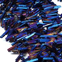 Natürlicher Quarz Perle, bunte Farbe plattiert, facettierte, 16-35x4-7x4-7mm, Bohrung:ca. 1mm, ca. 85PCs/Strang, verkauft per ca. 16 ZollInch Strang