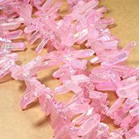 Natürliche gefärbten Quarz Perlen, Natürlicher Quarz, facettierte, Rosa, 17-38x5-10x4-8mm, Bohrung:ca. 1mm, ca. 66PCs/Strang, verkauft per ca. 16 ZollInch Strang