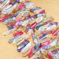 Natürlicher Quarz Perle, facettierte, gemischte Farben, 18-34x6-11x5-11mm, Bohrung:ca. 1mm, ca. 64PCs/Strang, verkauft per ca. 16 ZollInch Strang