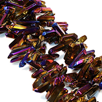Natürliche Beschichtung Quarz Perlen, Natürlicher Quarz, bunte Farbe plattiert, facettierte, 13-35x5-8x5-9mm, Bohrung:ca. 1mm, ca. 78PCs/Strang, verkauft per ca. 16 ZollInch Strang
