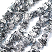 Natürliche Beschichtung Quarz Perlen, Natürlicher Quarz, silberfarben plattiert, 26-32x14-20x15-22mm, Bohrung:ca. 1.5mm, ca. 27PCs/Strang, verkauft per ca. 16 ZollInch Strang
