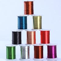 Messing Draht, Messingdraht, mit Kunststoffspule, plattiert, mit Bemaltung, gemischte Farben, 0.3mm, 10PCs/Menge, ca. 10m/PC, verkauft von Menge