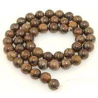 Bronzit Stein Perlen, rund, natürlich, verschiedene Größen vorhanden, Bohrung:ca. 1mm, verkauft per ca. 15 ZollInch Strang