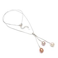925 Sterling Silber Perlen Halskette, Natürliche kultivierte Süßwasserperlen, mit Sterling Silber Kette, Tropfen, natürlich, Schlangekette, farbenfroh, 7-8mm, verkauft per ca. 17 ZollInch Strang