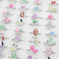 Kinder Finger Ring, Zinklegierung, Platinfarbe platiniert, für Kinder & einstellbar & Emaille & mit Strass & gemischt, frei von Blei & Kadmium, 17x18x15mm-17x19x16mm, Größe:4-5, 100PCs/Box, verkauft von Box