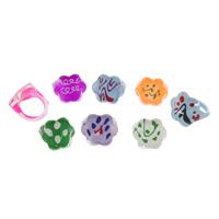 Kinder Finger Ring, Harz, für Kinder & gemischt, frei von Blei & Kadmium, 17x18x15mm, Größe:4, 100PCs/Tasche, verkauft von Tasche