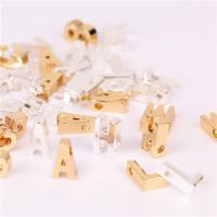 Zinklegierung Buchstaben Anhänger, plattiert, gemischtes Muster, keine, frei von Blei & Kadmium, 10x3.5mm, Bohrung:ca. 2mm, 26PCs/Tasche, verkauft von Tasche