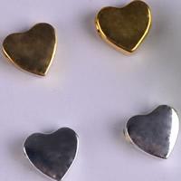 Zinklegierung Herz Perlen, plattiert, keine, frei von Blei & Kadmium, 10x10mm, Bohrung:ca. 2mm, 30PCs/Tasche, verkauft von Tasche
