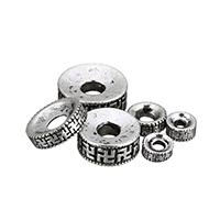 Buddhistische Perlen, Zinklegierung, Kreisring, antik silberfarben plattiert, om mani padme hum & verschiedene Größen vorhanden, frei von Nickel, Blei & Kadmium, verkauft von Menge