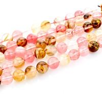 Wassermelone Glasperlen, rund, natürlich, verschiedene Größen vorhanden, Bohrung:ca. 1mm, verkauft per ca. 15 ZollInch Strang