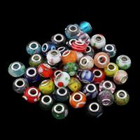 Lampwork Perlen European Stil, handgemacht, Messing-Dual-Core ohne troll & gemischt, 13x9-18x9mm, Bohrung:ca. 5mm, 20PCs/Tasche, verkauft von Tasche