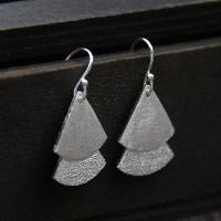 925 Sterling Silber Tropfen Ohrring, Dreieck, für Frau & Falten, 15mm, verkauft von Paar