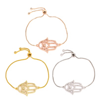 Hamsa Armbänder, Messing, plattiert, einstellbar & Kastenkette & Micro pave Zirkonia & für Frau, keine, frei von Nickel, Blei & Kadmium, 36x25x3mm, verkauft per ca. 8 ZollInch Strang