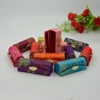 Brokat Lippenstift-Box, mit Glas & Kunststoff, mit Blumenmuster & gemischt, 90x30mm, 12PCs/Menge, verkauft von Menge