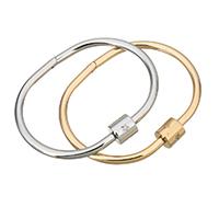 Paar Armband und Armreif, Edelstahl, plattiert, für Frau & mit kubischem Zirkonia, keine, 10mm, 4mm, Innendurchmesser:ca. 60x43mm, verkauft von PC