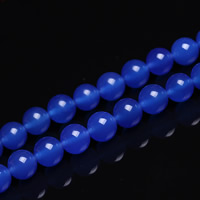 Blauer Achat Perle, rund, verschiedene Größen vorhanden, Bohrung:ca. 1mm, verkauft per ca. 15 ZollInch Strang