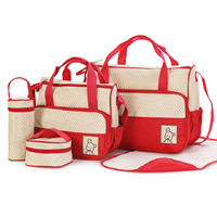 Polyester Mama Tasche, mit Muster von runden Punkten, keine, 290x250x180mm, 400x300x180mm, 190x80mm, 130x60mm, 500x300mm, 5PCs/setzen, verkauft von setzen