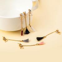 Mode-Fringe-Ohrringe, Zinklegierung, mit Nylonschnur, Edelstahl Stecker, QuasteTroddel, goldfarben plattiert, abnehmbare & mit Strass, keine, frei von Blei & Kadmium, 56mm, verkauft von Paar
