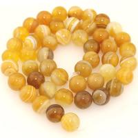 Natürliche Streifen Achat Perlen, rund, verschiedene Größen vorhanden, orange, verkauft per ca. 15.5 ZollInch Strang