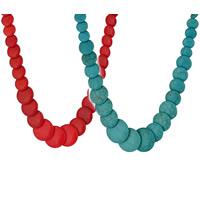 Mode Türkis Halskette, Synthetische Türkis, Messing Karabinerverschluss, mit Verlängerungskettchen von 5cm, flache Runde, keine, 450mm, verkauft per ca. 17.5 ZollInch Strang