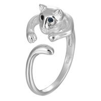 Messing Manschette Fingerring, Katze, versilbert, einstellbar & für Frau & mit Strass, frei von Blei & Kadmium, 6-8mm, Größe:7.5, verkauft von PC