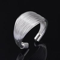 Messing Manschette Fingerring, versilbert, einstellbar & für Frau, frei von Blei & Kadmium, 13mm, Größe:6-8, verkauft von PC