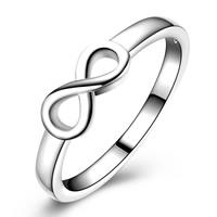 Messing Fingerring, Unendliche, versilbert, verschiedene Größen vorhanden & für Frau, frei von Blei & Kadmium, 5x11mm, verkauft von PC