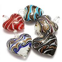 Goldsand Lampwork Perlen, gemischte Farben, 37.50x44.50x18mm, Bohrung:ca. 6.5mm, 3Taschen/Menge, 10PCs/Tasche, verkauft von Menge