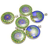 Millefiori Scheibe Lampwork Perlen, flache Runde, gemischtes Muster & mit Millefiori Scheibe, 30.50x35x4mm, Bohrung:ca. 4x4.5mm, 3Taschen/Menge, 10PCs/Tasche, verkauft von Menge