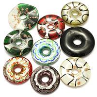 Silberfolie Lampwork Perlen, gemischt, 40-50x9-11mm, Bohrung:ca. 9-12mm, 3Taschen/Menge, 10PCs/Tasche, verkauft von Menge
