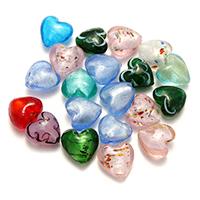 Goldsand & Silberfolie Lampwork Perlen, Herz, Goldfolie und Siberfolie, gemischte Farben, 19-21x18-21x11-14mm, Bohrung:ca. 2-2.5mm, 2Taschen/Menge, ca. 50PCs/Tasche, verkauft von Menge
