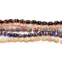 Millefiori Scheibe Lampwork Perlen, oval, mit Millefiori Scheibe, gemischte Farben, 9x6x6mm, Bohrung:ca. 0.7mm, Länge:ca. 16 ZollInch, 10SträngeStrang/Menge, ca. 47PCs/Strang, verkauft von Menge