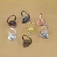 Messing Ringschiene, Tropfen, plattiert, olika innerdiameter, för val & einstellbar, keine, frei von Nickel, Blei & Kadmium, 13-25mm, Größe:6-9, 20PCs/Tasche, verkauft von Tasche