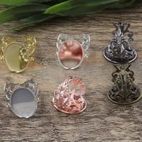 Messing Ringschiene, Blume, plattiert, olika innerdiameter, för val & einstellbar, keine, frei von Nickel, Blei & Kadmium, 13-25mm, Größe:6-9, 10PCs/Tasche, verkauft von Tasche