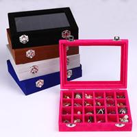 Multifunktionale Schmuck-Box, Holz, mit Baumwollsamt & Glas & Zinklegierung, plattiert, verschiedene Größen vorhanden, keine, 200x150x45mm, verkauft von PC