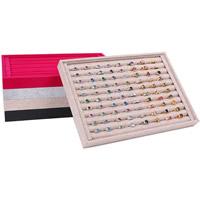 Holz Ringständer, mit Leinen & PU Leder & Baumwollsamt, Rechteck, keine, 350x240x30mm, 5PCs/Menge, verkauft von Menge