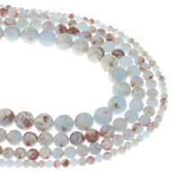 Wasserblauer Terra Jaspis Perle, rund, natürlich, verschiedene Größen vorhanden, Bohrung:ca. 1mm, verkauft per ca. 15.5 ZollInch Strang