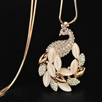 Katzenauge Pullover Halskette, Zinklegierung, mit Eisenkette & Katzenauge, Pfau, goldfarben plattiert, Schlangekette & mit Strass, keine, frei von Blei & Kadmium, 60x40mm, verkauft per ca. 31 ZollInch Strang